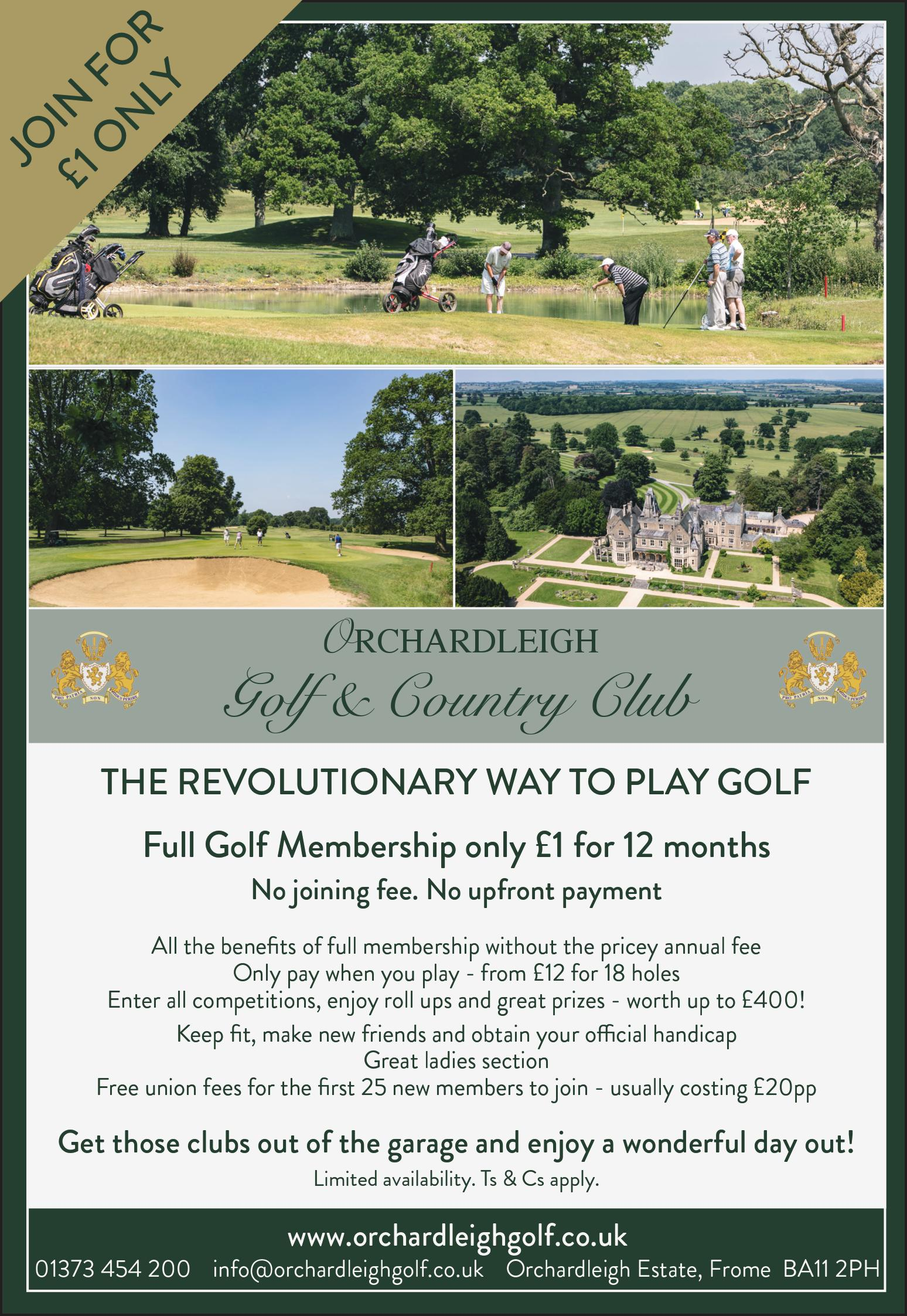 New Pay Per Round Membership at Orchardleigh